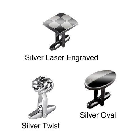 Zodaca Silver Metal Elegant Cufflinks Bullet Back Closure for Professionals Suit