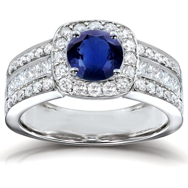 1f4903967aeea Shop Annello by Kobelli 14k White Gold Round Blue Sapphire and 1ct ...