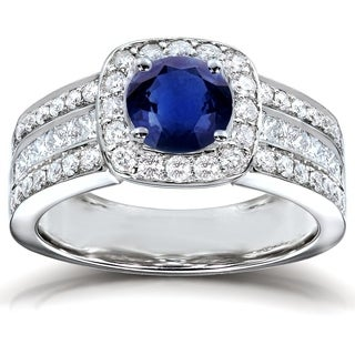 Annello by Kobelli 14k White Gold Round Blue Sapphire and 1ct TDW Diamond Multi-row Engagement Ring