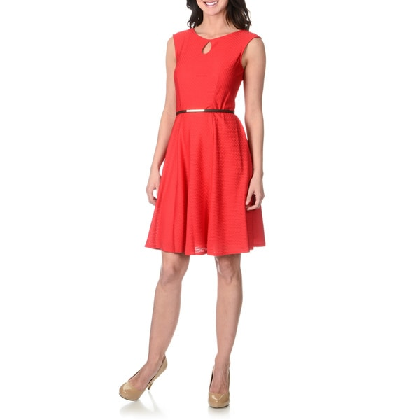 Shop London Times Women S Red Fit And Flare Textured Dress