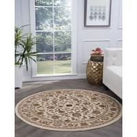 Alise Rugs Lagoon Traditional Oriental Round Area Rug