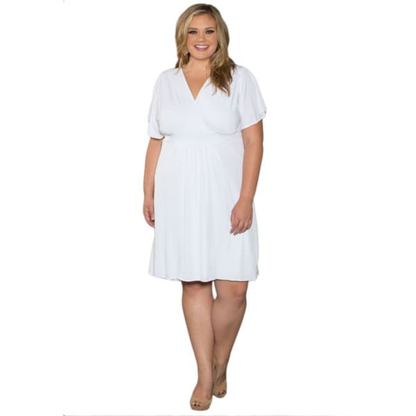 Sealed With a Kiss Women's Plus Size White V-neck Casual Dress ...