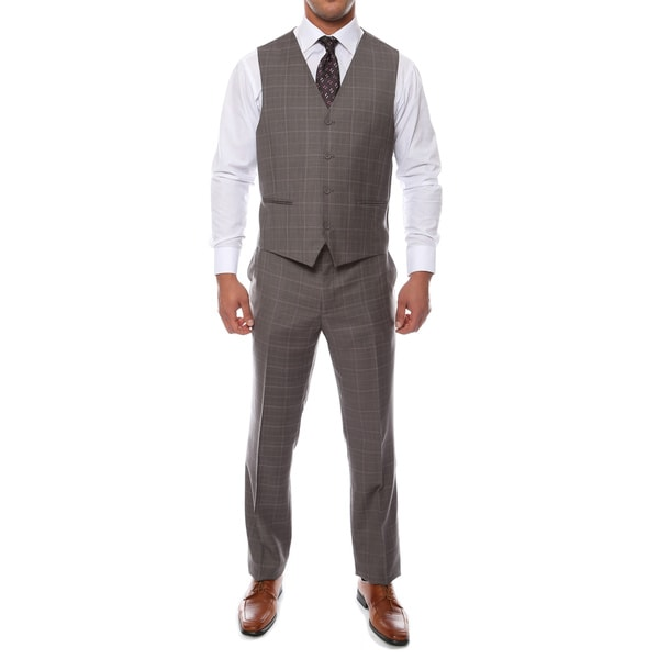 Zonettie by Ferrecci Men's Custom Slim Fit Charcoal Grey Plaid 3 ...