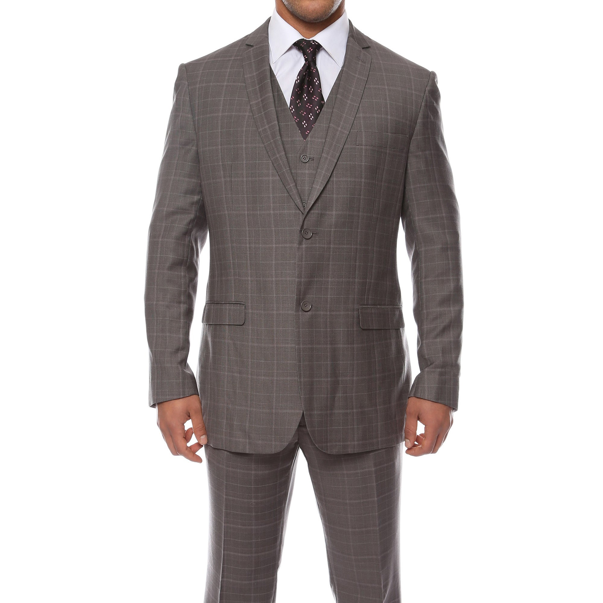 world-wide renown street price quality Zonettie by Ferrecci Men's Custom Slim Fit Charcoal Grey Plaid 3-piece  Vested Suit