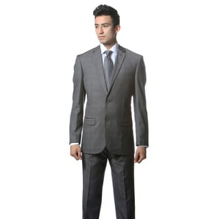 Zonettie by Ferrecci Men's Custom Slim Fit Grey/ White Plaid Suit
