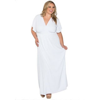 Sealed With a Kiss Women's Plus Size White Short Sleeve Maxi Dress