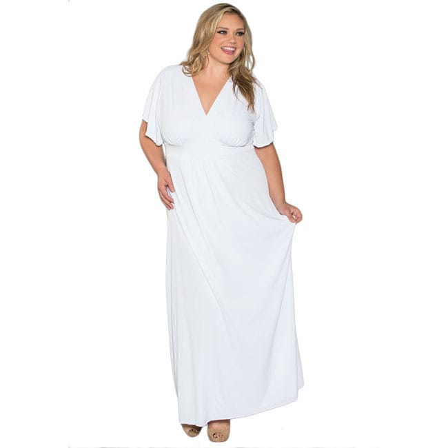 Sealed With a Kiss Women\'s Plus Size White Short Sleeve Maxi Dress