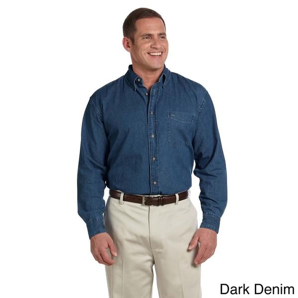Harriton Men's Denim Long Sleeve Shirt. Opens flyout.
