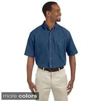 Harriton Men's Denim Short Sleeve Button-down Shirt