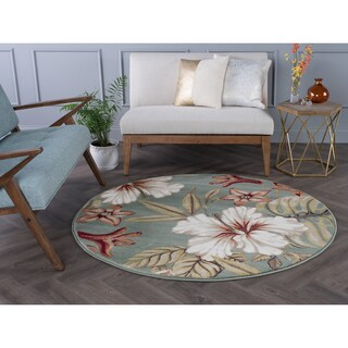Alise Rugs Caprice Transitional Floral Round Area Rug - 5'3 x 5'3
