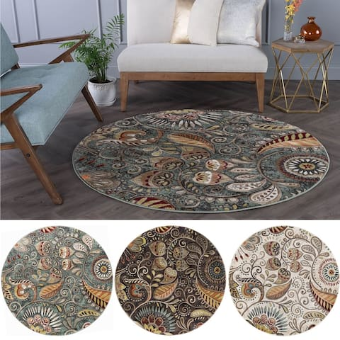 Alise Rugs Caprice Transitional Floral Round Area Rug
