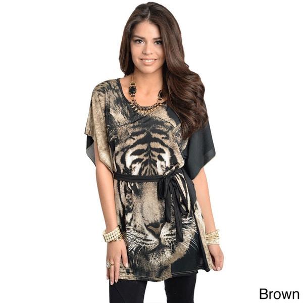 Stanzino Women's tiger Print Silk Blend Caftan Blouse