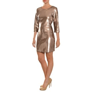 Women's Champagne Sequined 3/4-sleeve Cocktail Dress