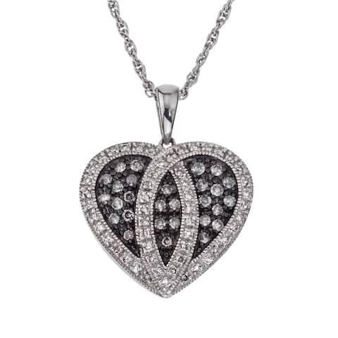 SilverMist Sterling Silver 1/2ct TDW Diamond Heart Necklace By Ever One