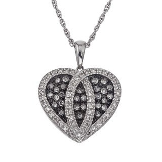 SilverMist Sterling Silver 1/2ct TDW Diamond Heart Necklace By Ever One (H-I, I1-I2)