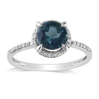 Miadora 10k White Gold 1 3/5ct TGW Blue Topaz and Diamond Halo Ring