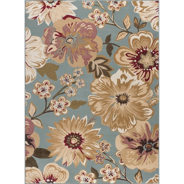 Alise Rugs Lagoon Transitional Floral Area Rug - 7'6 x 9'10