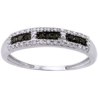 Beverly Hills Charm 10k White Gold 1/5ct TDW Black and White Diamond Band Ring