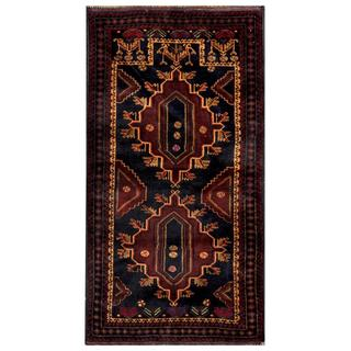 Herat Oriental Semi-antique Afghan Hand-knotted Tribal Balouchi Navy/ Maroon Wool Rug (2'9 x 5'5)