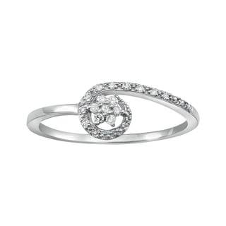 Beverly Hills Charm 10k White Gold 1/10ct TDW Diamond Flower Ring (H-I, I2-I3)