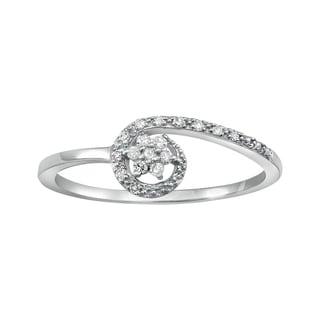 10k White Gold 1/10ct TDW Diamond Flower Ring