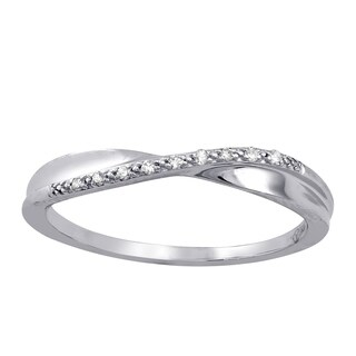 10k White Gold Crossover Diamond Accent Ring