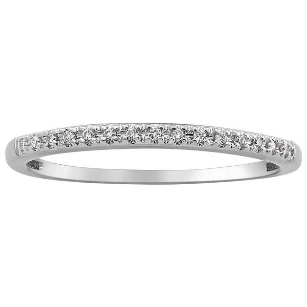 10k White Gold 0.06ct TDW Diamond Stackable Wedding Band
