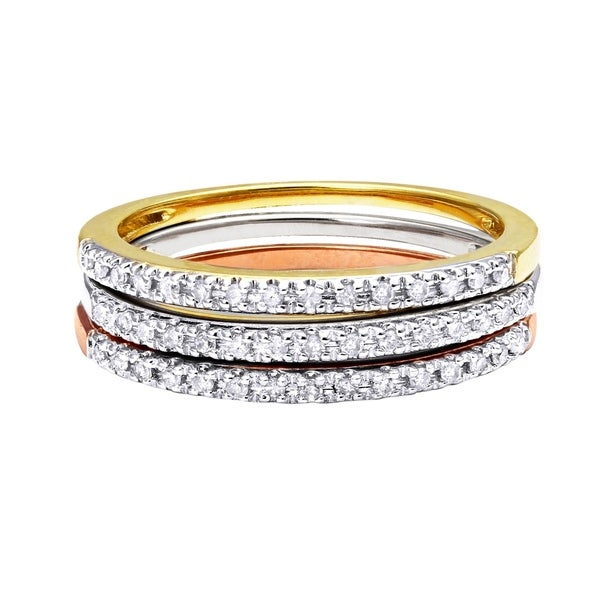10k White Gold 0.06ct TDW Diamond Stackable Wedding Band - White H-I