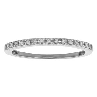 Beverly Hills Charm 10k White Gold 0.06ct TDW Diamond Stackable Wedding Band