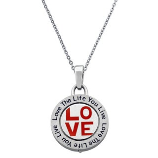 "Stainless Steel Two Way Circle ""Love"" Heart Shaped Crystal Pendant Necklace"