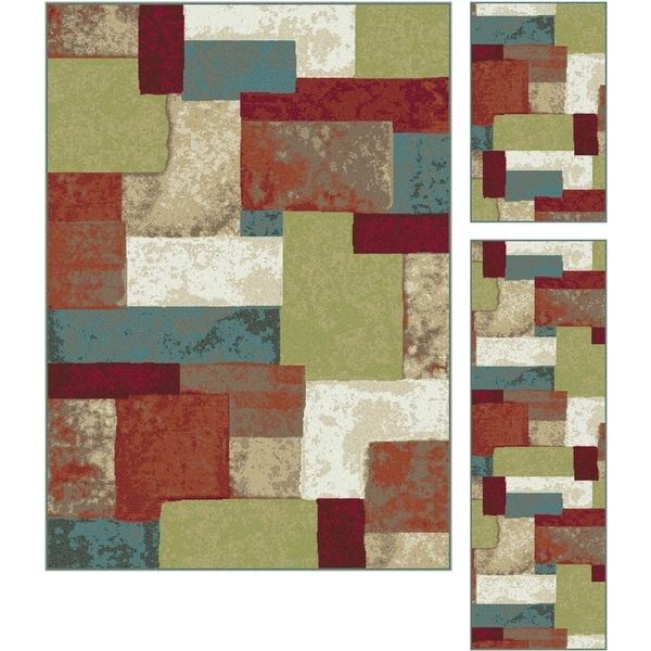 Alise Decora Multi Contemporary Area Rug 3 Piece Set - 5' x 7'
