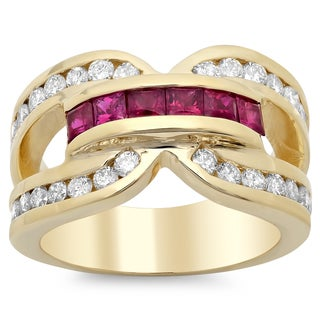 14k Yellow Gold 3/4ct TDW Diamond and 1 1/4ct Ruby Ring (E-F, SI1-SI2)