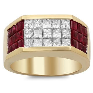 18k Yellow Gold 1ct TDW Diamond and Ruby Ring (F-G, SI1-SI2)
