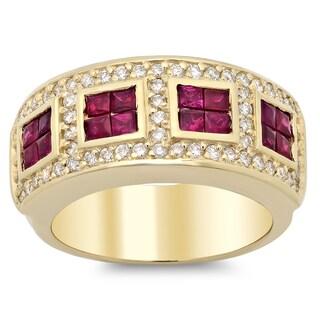 14k Yellow Gold 1 1/2ct TDW Diamond and 1ct TGW Ruby Ring (F-G, SI1-SI2)