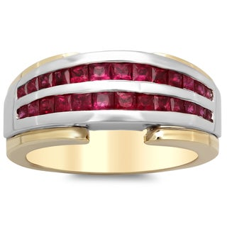 14k Two-tone Gold 1 2/5ct TGW Ruby Ring