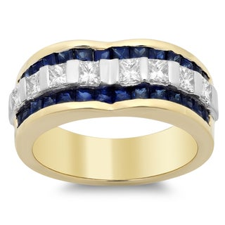14k Two-tone Gold 4/5 ct TDW Diamond and 1 1/3 ct TGW Blue Sapphire Ring (F-G, SI1-SI2)