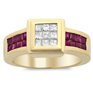 18k Yelloe Gold 1/3ct TDW Diamond and 4/5ct Ruby Ring (F-G, SI1-SI2)