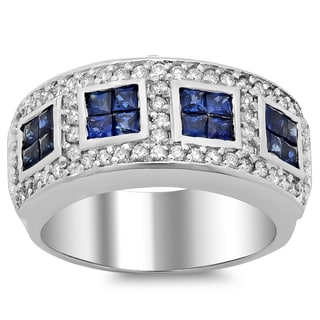 14k White Gold Blue Sapphire 1ct and 7/8ct TDW White Diamond Ring (F-G, SI1-SI2)