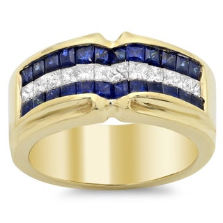 18k Yellow Gold Blue Sapphire and 1/2 ct TDW Diamond and 1 1/4 ct Sapphire Ring (F-G, SI1-SI2)