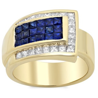 18k Yellow Gold 1 1/10ct TDW White Diamond and 1ct Sapphire Ring (E-F, SI1-SI2)