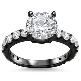 Noori 18k Black Gold 1 4/5ct TDW Round Clarity-enhanced Diamond Engagement Ring (G-H, SI1-SI2)