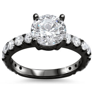 Noori 18k Black Gold 1 1/2ct TDW Round Diamond Clarity-enhanced Engagement Ring