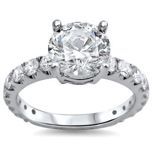 Noori 18k White Gold 2ct TDW Round Clarity-enhanced Diamond Engagement Ring