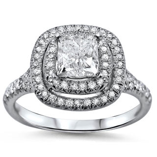 Noori 18k White Gold 1 2/5ct TDW Double Halo Clarity-enhanced Diamond Ring