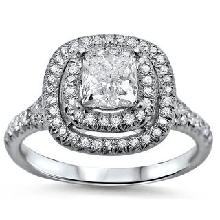 Noori 18k White Gold 1 2/5ct TDW Double Halo Clarity-enhanced Diamond Engagement Ring