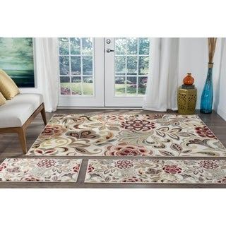 Alise Decora Ivory Transitional Area Rug 3 Piece Set