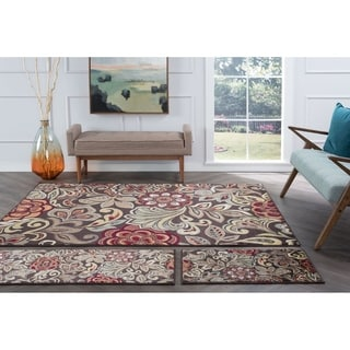 Alise Rugs Decora Transitional Floral Three Piece Set - 5' x 7'