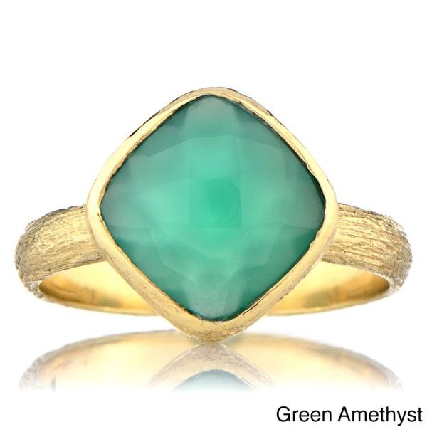 Brass Cushion-cut Gemstone Right Hand Ring