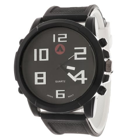 Airwalk Men's Sport Round Watch with Black Rubber Strap