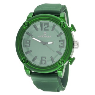 Airwalk Elegant Round Watch with Green Rubber Strap